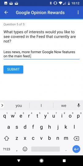google feed survey